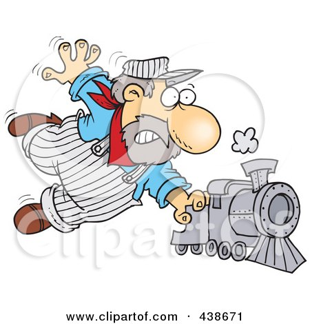 Royalty-Free (RF) Clip Art Illustration of a Cartoon Locomotive Engineer Holding Onto A Fast Steam Train by toonaday