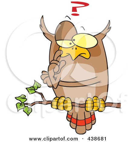 Royalty-Free (RF) Clip Art Illustration of a Cartoon Pondering Owl Perched On A Branch by toonaday