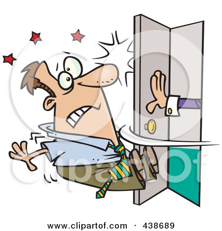Royalty-Free (RF) Clip Art Illustration of a Cartoon Hand Pushing Open A Door And Knocking A Man Out by toonaday