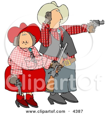Cowboy and Cowgirl Couple Target Practicing with Pistols and a Rifle Clipart by djart