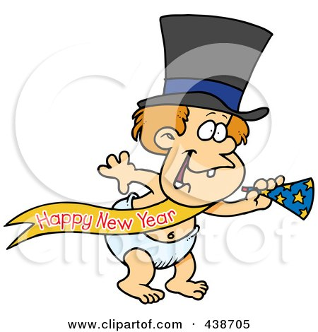 Royalty-Free (RF) Clip Art Illustration of a Cartoon New Years Baby With A Horn by toonaday