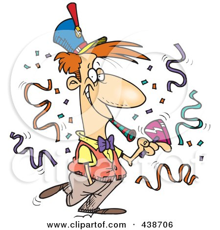 Royalty-Free (RF) Clip Art Illustration of a Cartoon New Year Man At A Party by toonaday