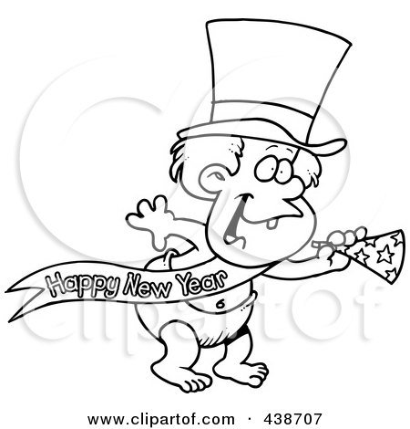 Royalty-Free (RF) Clip Art Illustration of a Cartoon Black And White Outline Design Of A New Years Baby With A Horn by toonaday