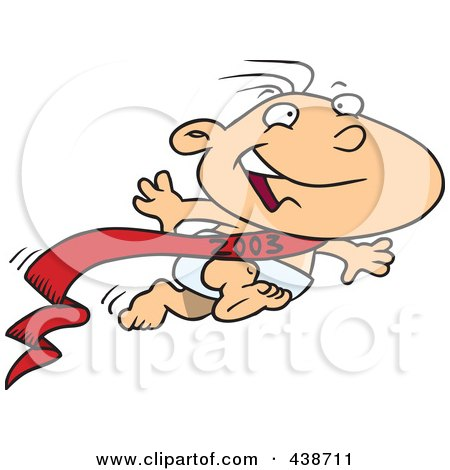Royalty-Free (RF) Clip Art Illustration of a Cartoon New Years Baby Running by toonaday