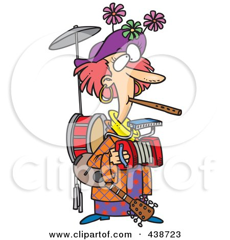 Royalty-Free (RF) Clip Art Illustration of a Cartoon One Woman Band by toonaday