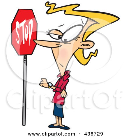 Royalty-Free (RF) Clip Art Illustration of an Obedient Cartoon Woman Standing By A Stop Sign by toonaday