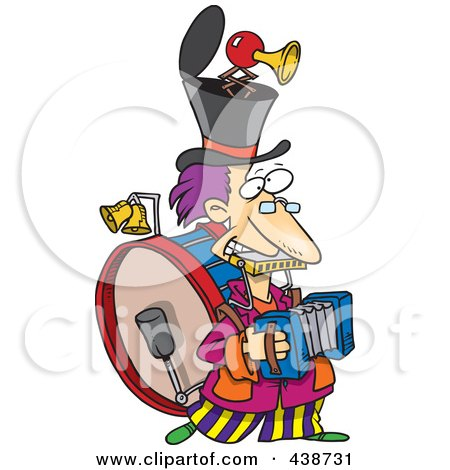 Royalty-Free (RF) Clip Art Illustration of a Cartoon One Man Band by toonaday