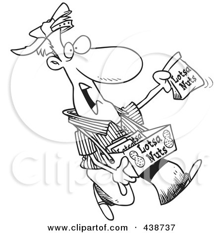 Royalty-Free (RF) Clip Art Illustration of a Cartoon Black And White Outline Design Of A Nut Vendor Holding Up A Bag by toonaday