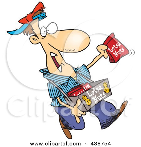 Royalty-Free (RF) Clip Art Illustration of a Cartoon Nut Vendor Holding Up A Bag by toonaday