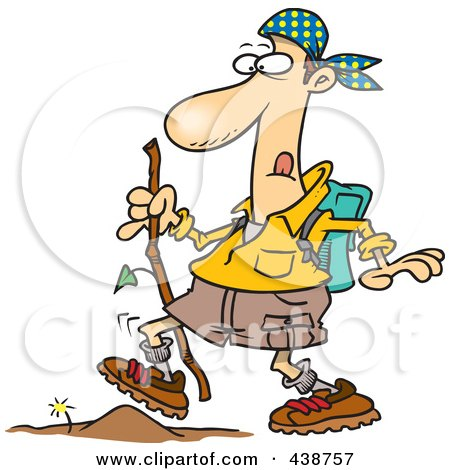 Royalty-Free (RF) Clip Art Illustration of a Cartoon Hiker Walking Over A Tiny Obstacle by toonaday