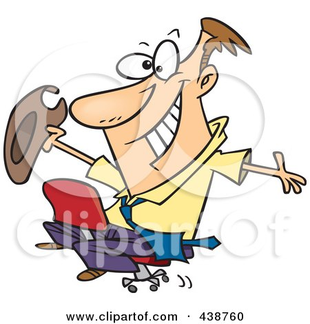 Royalty-Free (RF) Clip Art Illustration of a Cartoon Businessman Riding A Chair Like A Rodeo Cowboy by toonaday