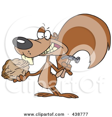 Royalty-Free (RF) Clip Art Illustration of a Cartoon Squirrel Holding A Nut And Hammer by toonaday