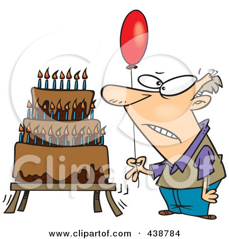 Cartoon Old Man Holding A Balloon By A Birthday Cake Poster, Art Print