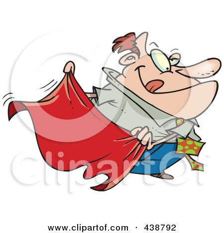 Royalty-Free (RF) Clip Art Illustration of a Cartoon Businessman Teasing With A Red Cape by toonaday
