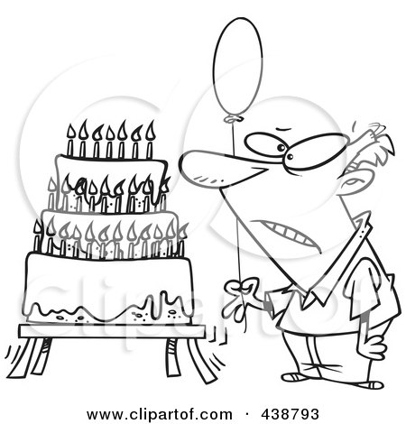 Cartoon Black And White Outline Design Of An Old Man Holding A Balloon By A Birthday Cake Posters, Art Prints