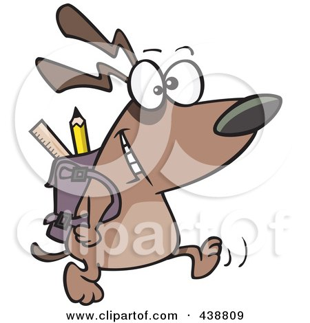 Royalty-free clipart picture of a school dog walking with a backpack,