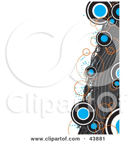 Clipart Illustration Of A Border Of Gray Waves With Orange