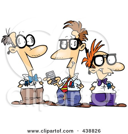 Royalty-Free (RF) Clip Art Illustration of a Cartoon Group Of Nerds Talking by toonaday