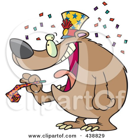 Royalty-Free (RF) Clip Art Illustration of a Cartoon New Year Bear Holding A Noise Maker by toonaday