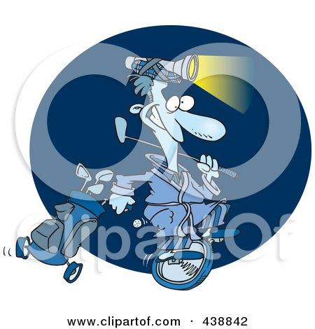 Royalty-Free (RF) Clip Art Illustration of a Cartoon Man Golfing At Night by toonaday