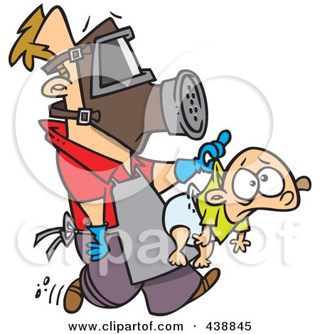 Royalty-Free (RF) Clip Art Illustration of a Cartoon New Dad Wearing Protective Gear And Carrying A Baby by toonaday
