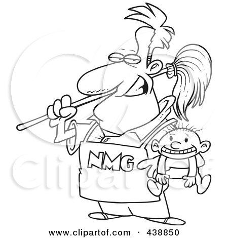 Royalty-Free (RF) Clip Art Illustration of a Cartoon Black And White Outline Design Of A Stay At Home Dad Holding A Baby by toonaday
