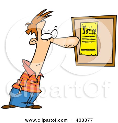 Cartoon Man Reading A Notice Posters Art Prints By
