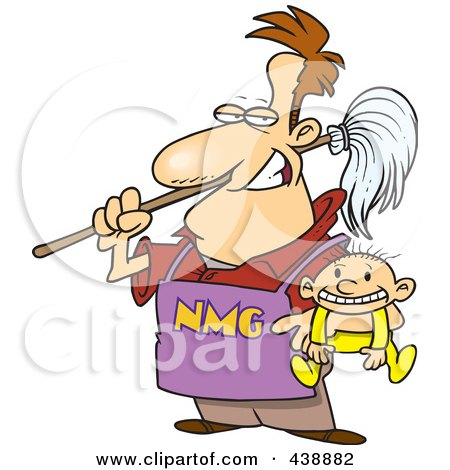 Royalty-Free (RF) Clip Art Illustration of a Cartoon Stay At Home Dad Holding A Baby by toonaday