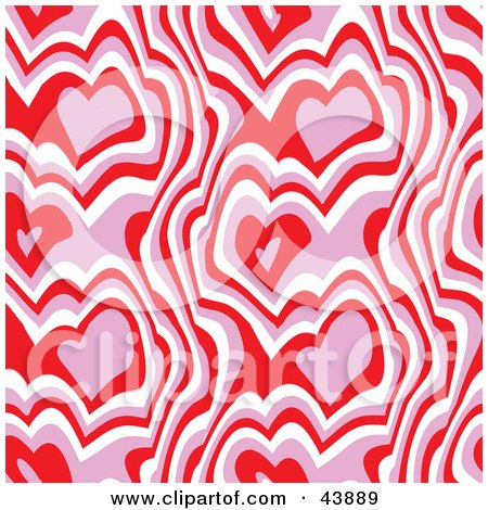 Clipart Illustration of a Red, Pink And White Background Of Abstract Hearts And Lines by Arena Creative