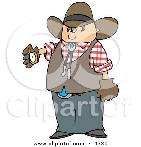 Cowboy Checking His Stopwatch Clipart by djart