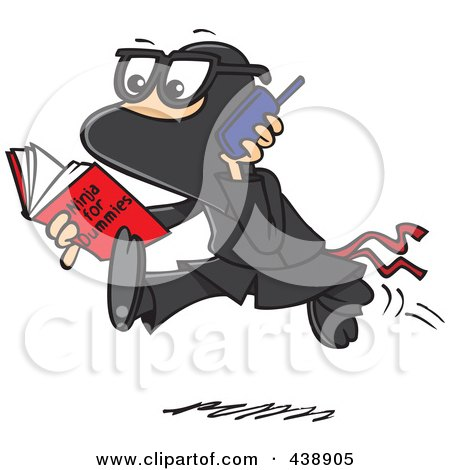 Royalty-Free (RF) Clip Art Illustration of a Cartoon Man Reading A Ninja For Dummies Book by toonaday