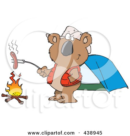 Royalty-Free (RF) Clip Art Illustration of a Cartoon Camping Koala Roasting A Hot Dog Over A Fire by toonaday
