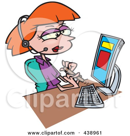 Royalty-Free (RF) Clip Art Illustration of a Cartoon Secretary Filing Her Nails At Her Desk by toonaday