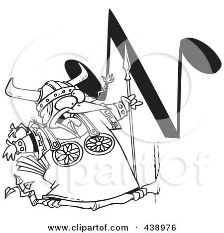 Royalty-Free (RF) Clip Art Illustration of a Cartoon Black And White Outline Design Of A Singing Viking Bird With An N Music Note by toonaday