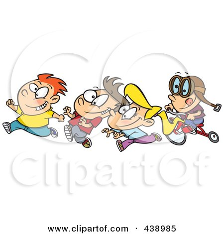 Royalty-Free (RF) Clip Art Illustration of a Cartoon Boy Chasing His Friends On His Trike by toonaday