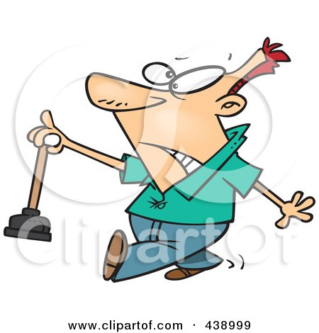Royalty-Free (RF) Clip Art Illustration of a Cartoon Man Holding A Nasty Toilet Plunger by toonaday