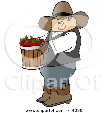 Cowboy Farmer Carrying a Bucket of Freshly Picked Red Apples Clipart by djart