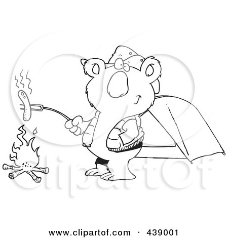 Royalty-Free (RF) Clip Art Illustration of a Cartoon Black And White Outline Design Of A Camping Koala Roasting A Hot Dog Over A Fire by toonaday
