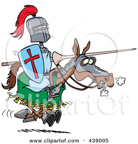 Royalty-Free (RF) Clip Art Illustration of a Cartoon Jousting Knight On A Horse by toonaday