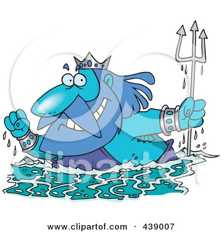 Royalty-Free (RF) Clip Art Illustration of a Cartoon King Neptune Surfacing by toonaday