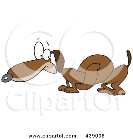 Royalty-Free (RF) Clip Art Illustration of a Cartoon Knotted Wiener Dog by toonaday