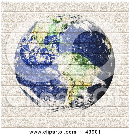 Clipart Illustration of Planet Earth Painted On A Brick Wall by Arena Creative