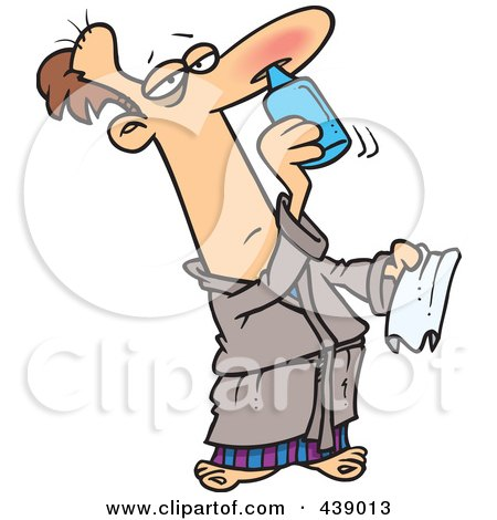 Royalty-Free (RF) Clip Art Illustration of a Cartoon Man Squirting Nasal Medicine In His Nose by toonaday