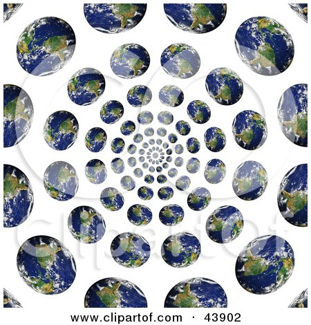 Clipart Illustration of a Spiraling Vortex Of Earths by Arena Creative