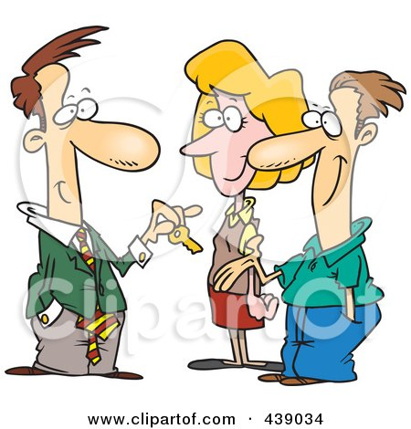 Royalty-Free (RF) Clip Art Illustration of a Cartoon Real Estate Agent Giving His Client House Keys by toonaday