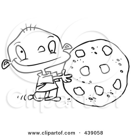 Royalty-Free (RF) Clip Art Illustration of a Cartoon Black And White Outline Design Of A Toddler Rolling A Large Chocolate Chip Cookie by toonaday