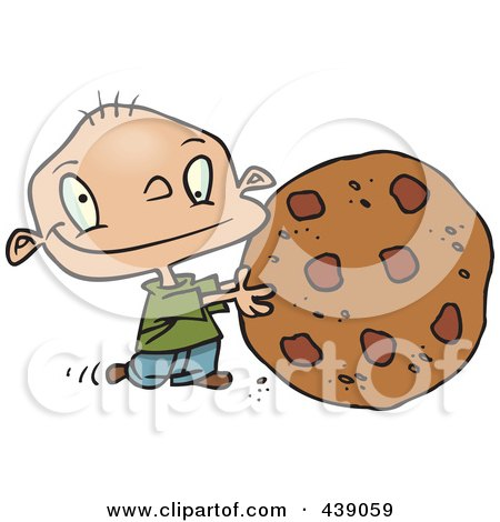 Royalty-Free (RF) Clip Art Illustration of a Cartoon Toddler Rolling A Large Chocolate Chip Cookie by toonaday