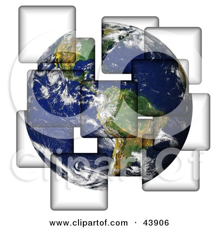 Clipart Illustration of Planet Earth Being Separated Onto Different Pieces by Arena Creative