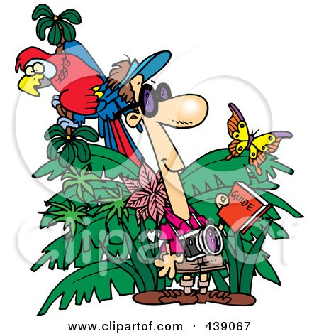 Royalty-Free (RF) Clip Art Illustration of a Cartoon Jungle Tourist by toonaday