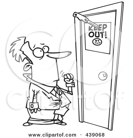 Royalty-Free (RF) Clip Art Illustration of a Cartoon Black And White Outline Design Of A Businessman At A Door With A Keep Out Sign by toonaday